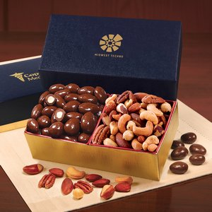 Chocolate Almonds & Deluxe Mixed Nuts in Navy & Gold Gift Box