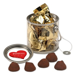 Clear Miniature Paint Bucket Pails with Cocoa Dusted Truffles