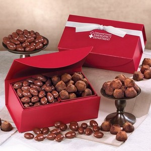 Milk Chocolate Almonds and Cocoa Dusted Truffles in Red Magnetic Closure Box