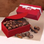 Chocolate Sea Salt Caramels and Cocoa Dusted Truffles in Red Magnet