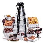 Silver Delights Gourmet Gift Tower - Black Ribbon