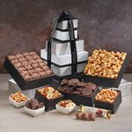 Snack Extravaganza Black and Silver Gift Tower