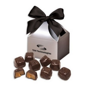 Barrel-Aged Bourbon Caramels in Silver Gift Box