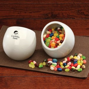 Modern White Candy Dish with Jelly Belly Jelly Beans
