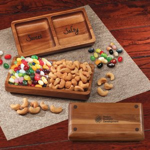 Acacia Tray with Jelly Belly Jelly Beans & Cashews