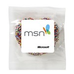 Milk Chocolate Covered Pretzel - Rainbow Nonpareil Sprinkles