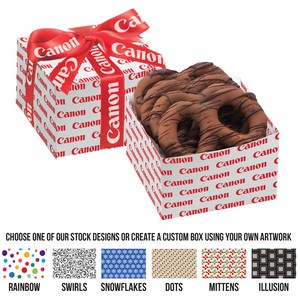 Gala Gift Box - 4 Chocolate Covered Pretzel Knots with Chocolate