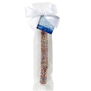 Milk Chocolate Covered Pretzel Rod - Rainbow Nonpareil Sprinkles
