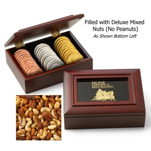 Mahogany Toned Wooden Gift Box & Deluxe Mixed Nuts (no Peanuts)