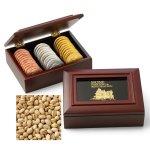 Mahogany Toned Wooden Gift Box & Pistachios