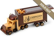 Semi Truck with Sliding Lid Wooden Collectible Cinnamon Almonds