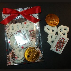 Chocolate Covered Pretzel and Chocolate Playing Card