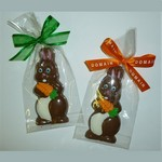 Chocolate Bunny with Carrot Wrapped in Cello Bag with Bow