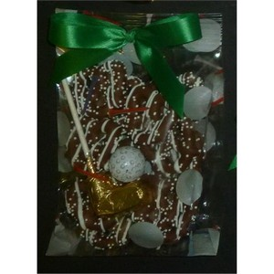 Golf Theme Chocolate Dipped Pretzel Knots, Putter and Golf Ball