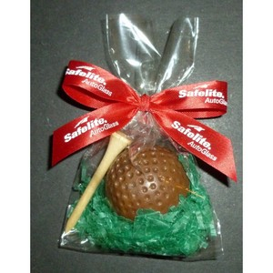 Chocolate Golf Ball and Chocolate Golf Tee in Cello Bag