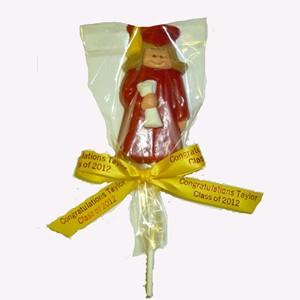Graduation Girl Chocolate Pop Novelty on a Stick - School Colors