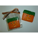 Jack-O-Grams Candy in Cello Bag with Black and Orange Raffia