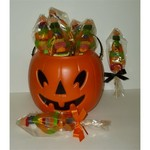 Witch Kabobs with Gummie Worms, Pumpkins and Gum Drops
