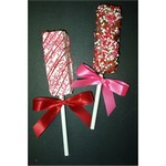 Valentines Krispy Stick Dipped in Chocolate, Drizzled in Pink/Red